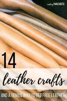 Leather is expensive, so the cost always prohibited me trying out DIYs with leather. That was until I found out how to get free leather for DIY crafts.bring on the leather craft ideas! Here's 14 leather craft ideas to inspire you. Summer Arts And Crafts, Arts And Crafts For Adults, Easy Arts And Crafts, Leather Art, Sewing Leather, Leather Tooling, Leather Jewelry, Tooled Leather, Leather Design