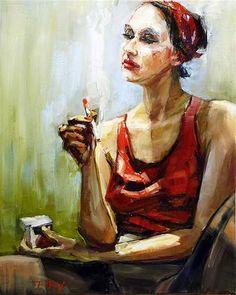 "Daily Paintworks - ""Frau mit Zigarette"" - Original Fine Art for Sale - © Jurij Frey"