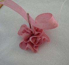 Fita de seda bordado: Tutorial - Dobrado Rosa / Coletados Comb