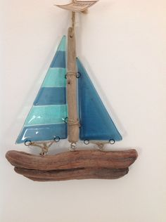 Fused glass and driftwood boat - 'Stripe'