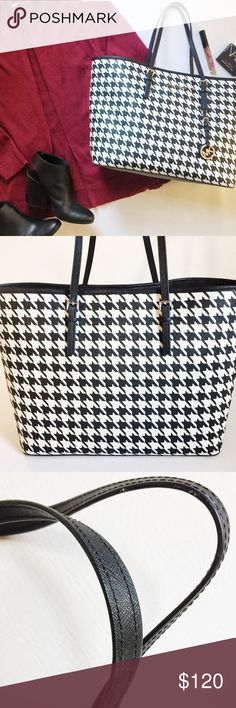 "Michael Kors Houndstooth Jet Set Tote Bag Michael Kors Houndstooth Jet Set Leather Tote Bag in black and white printed saffiano leather.  Hold everything in this roomy bag!  Key clip and 2 inside flap pockets.  Pre-loved but in excellent condition.  Minimal signs or wear on handle, see pic.  No other stains or damage.  Dustbag not included.  •  BUNDLE with boots to SAVE and GET THE LOOK!  •  Measurements: 11"" H x 18"" W x 7.5"" D Handle Drop: 8"" Michael Kors Bags"