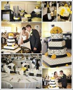 Bright Wedding Cake- black, white and yellow