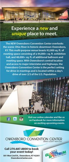 Ad for the Owensboro Convention Center. Published in a national magazine – Small Market Meetings.