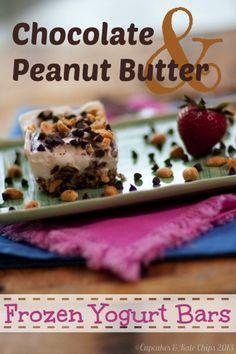 Chocolate Peanut Butter Frozen Yogurt Bars  cupcakesandkalechips.com   #greekyogurt #glutenfree