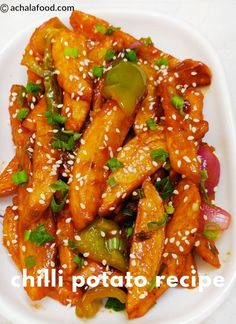 Chilli potato recipe is a recipe of chinese cuisine in hindi & english with step to step directions with photos & recipe video,tips and variation Chilli Recipes, Potato Recipes, Vegetarian Recipes, Healthy Recipes, Maggi Recipes, Vegetarian Appetizers, Potato Dishes, Appetizer Recipes, Snack Recipes