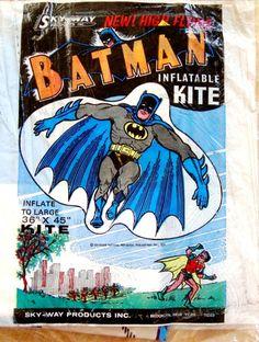 STUFF ALFRED PENNYPACKER IS WATCHING ON EBAY Certified Cool Vintage Batman Stuff Sky-Way High Flying Batman Inflatable Kite Circa 1974