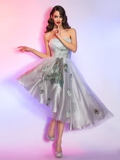 Cocktail Party/Homecoming/Holiday Dress - A-line Strapless Asymmetrical Lace/Charmeuse/Tencel - USD $89.99