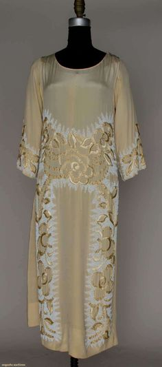 Beaded Cream Silk Evening Gown, C.1922, Augusta Auctions, March 21, 2012 NYC, Lot 180