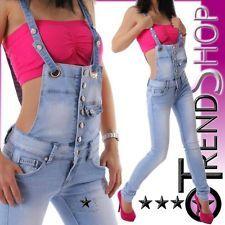 Neu Latzjeans ►34 36 38 40 42 Damen low rise Latz Hose Jeans light blue New 2013
