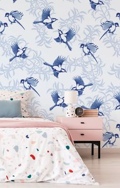 Love is certainly in the air when it comes to Fonnereau's Lovebirds wallpaper mural! There is something so charming about blue and white vintage-style illustrations! And this beautiful bird wallpaper is no exception. Available to be printed on high-quality wallpapers, this pretty bird wall mural will be delivered in panels for easy installation. Discover more from Wallsauce! #wallpaper #homedecor Where to buy vintage style wallpaper.