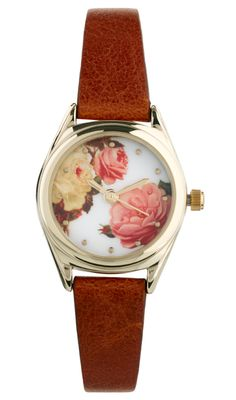 River Island Brown Floral Helen Watch - Gold-tone bezel with a rose print face- Three hand quartz movement- Faux leather strap / Lyst
