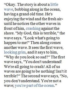 Tuesdays With Morrie quote - story about a little wave