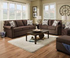 Simmons Upholstery - JoJo Chocolate 3 Piece Living Room Set - 1530-04Q-02-95-JoJo Chocolate