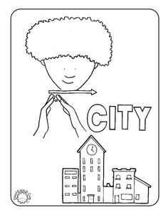 asl coloring page for the sign city deafedhub