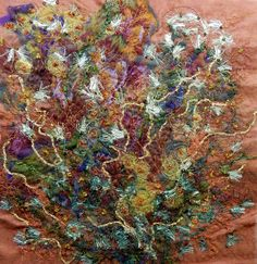 "Created with fabrics, fibres, threads, beading, free motion stitching and water soluble stabilizer. 6"" x 6"" ""In Bud"""