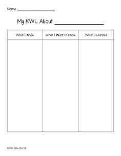 FREE - Printable KWL Chart   For Elementary Teachers   Pinterest ...