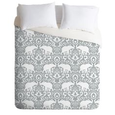 Bring exotic sophistication to your bedroom with the Deny Designs Jacqueline Maldonado Elephant Damask Paloma Duvet Cover. This stylish bedding is decorated with an ornate elephant design that stands out on a beautiful woven polyester ground. Elephant Bedding, Elephant Room, Elephant Stuff, Damask Bedding, Queen Bedding, Dorm Bedding, Elephant Gifts, Luxury Bedding, Duvet Sets