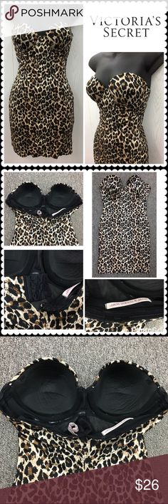 Victoria's Secret Power Figure Cupped Shaping Slip Sexy slimmer by VICTORIA'S SECRET. Brown Cheetah print. Power figure cupped shaping slip. Great for under tight fitting dress to smooth curves! Sz 36B (no straps) Victoria's Secret Intimates & Sleepwear Shapewear
