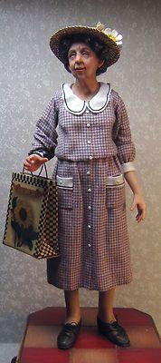 OOAK Miniature Dollhouse Doll, Lady with Hat | eBay