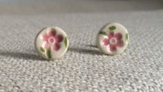 Pretty Pink Flower Ceramic Stud Earrings by PeachBlossomStudio
