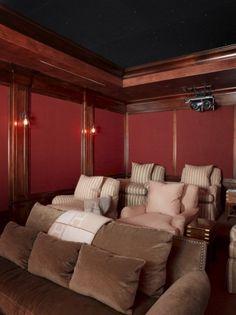 So nice to see comfy furniture in a theatre room!  Rebecca Bradley Interior Design » Atherton Residence