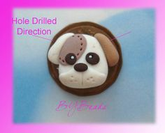 SALE Cute Dog Polymer Clay Charm Bead Scrapbooking Embelishment Bow Center Pendant