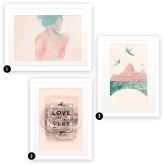Gallery Wall Idea #3 Choose a single strong color that appears in every frame to tie the wall together.