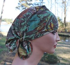 Headscarves chemo hat for patient hat-doo rag head wrap recycled upcycled scrub cancer hat head wrap hairloss