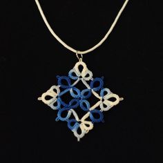 Tatted pendant in blue and white