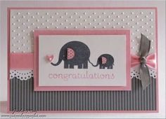 handmade baby card ... adorable mama and baby elephant image ... pink, gray and white ... luv the ribbon treatment ...