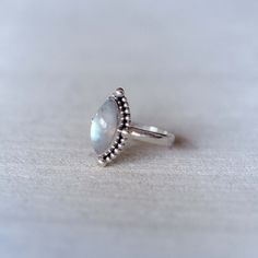 Marquis Rainbow Moonstone Ring Granulated Silver by DonBiuSilver