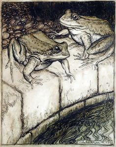 """Arthur Rackham, """"The Frogs and the Well"""" from Aesops' Fables. London: William Heinemann, 1912, page 161"""
