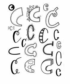 Letter C from Doodle Fonts, Doodle Lettering, Creative Lettering, Lettering Styles, Brush Lettering, Lettering Ideas, Hand Lettering Practice, Hand Lettering Alphabet, Alphabet Art