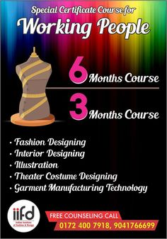 Special Certificate Courses for Working People  All Fashion Designing Courses Available Free Counselling Available for limited period Hurry !!! Contact IIFD for more information  http://iifd.in/ Call us @ 9803329989, 0172-4007918  #best #fashion #designing #institute #chandigarh #mohali #punjab #design #fashionDesign #iifd #indian #degree #iifd.in #admission #create #missindia #imagine #northIndia #law #diploma #degree #master #learning #jobs #costume #interiordesigning…