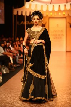 Nikhil Thampi black and gold bridal lehenga