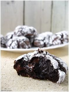 Deep Dark Chocolate Cookies-No butter & Flourless. I'm repinning this AGAIN because I made them today, and they seriously might be the best thing I've ever baked. Like the best of both chocolate chip cookies and brownies. My teeth hurt already!
