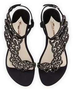 Sophia Webster Seraphina Angel-Wing Flat Sandal, Black Crystal