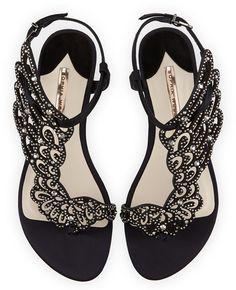 Sophia Webster Seraphina Angel-Wing Flat Sandal, Black Crystal