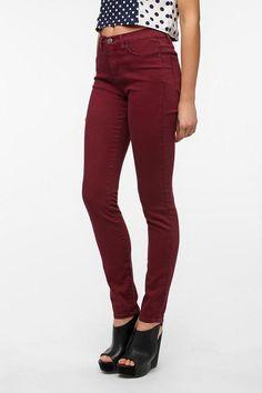 BDG Cigarette High Rise Jean - Burgundy Burgundy Jeans, Black Jeans, Skinny Legs, Skinny Fit, Cigarette Jeans, High Rise Jeans, Fall Winter Outfits, Winter Wardrobe, Super Skinny