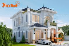 Thiết kế mẫu biệt thự tân cổ điển 2 tầng đẹp sang trọng BT1719 Home Design Floor Plans, Home Building Design, Building A House, Asian Architecture, Classic Architecture, Arch House, Facade House, My House Plans, Castle House