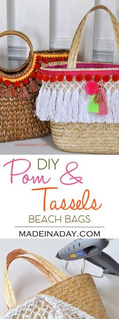 DIY Pom & Tassel Basket Beach Totes, Easy DIY just add some trim to a basket tote and you have the latest trend in fashion for this summer! Bohemian tote, boho bag, tassel bag, pom pom, tassel bag charms, see the tutorial on madeinaday.com