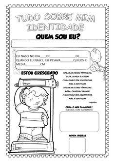 texto quem sou eu atividade - Projeto Identidade para Educação Infantil Portuguese Lessons, School Jobs, Portuguese Language, Special Education, Social Studies, Back To School, Homeschool, Teaching, Math