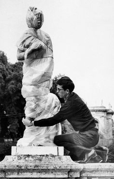 Christo in the Garden of the Villa Borghese, Rome, 1963. Photo by Barbara Rose (via: nevver:Early Christo)