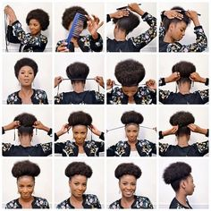 Step by step for creating an Afro Puff.