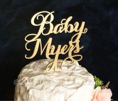 Personalized+Baby+Shower+Cake+Topper.+Baby+by+TheVirginiaArtisans