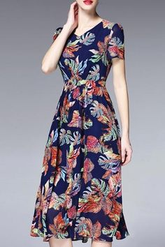 00054004fee40 Dezzal - Dezzal Ruched Midi Floral Dress - AdoreWe.com Floral Midi Dress