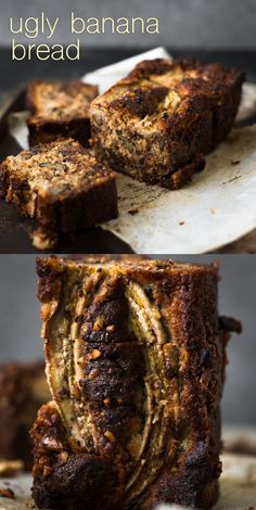 A delicious Vegan Banana Bread recipe loaded with Walnuts, Toasted Coconut, Dark Chocolate and a Brown Sugar Cinnamon Swirl in the middle. Ready in under 1 hour. Cinnamon Banana Bread, Vegan Banana Bread, Vegan Sweets, Vegan Desserts, Vegan Food, Food Food, Chef Recipes, Chilli Recipes, Baking Recipes