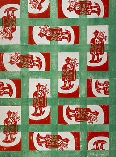Design for Wrapping Paper (Bagpipe Player), Edward Bawden 1960 Textile Patterns, Print Patterns, Textiles, Wrapping Paper Design, Book Design, 2d Design, Pattern Design, Teaching Art, Repeating Patterns