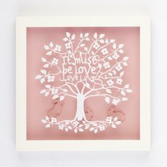 It Must be Love Love Love Silhouette Paper Art Frame Tree Designs, Wall Art Designs, Paper Book, Paper Art, Love Silhouette, Framed Art, Framed Prints, Customised Gifts, Unique Wall Art