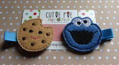 Cookie and Monster Clips by CutiePieHairFlair on Etsy, $6.50